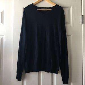Vince Navy Blue Wool V-Neck Sweater